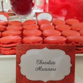 Chocolate Macarons with labels